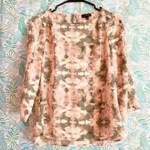 The Limited Pink and Gray Floral Blouse